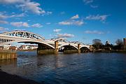 Barnes Greater London. 1st March 2020 <br />  Pre Boat Race Fixture,  Barnes Rail Bridge,  Championship Course, Putney to Mortlake, River Thames, [Mandatory Credit: Peter SPURRIER/Intersport Images],