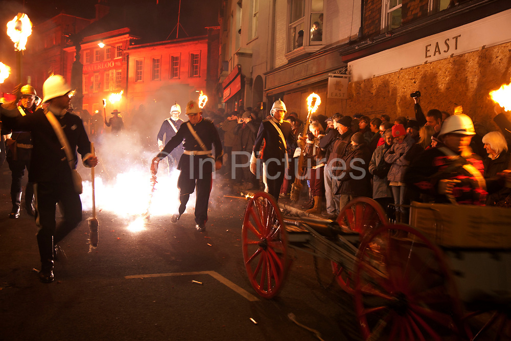 Lewes, UK. Monday 5th November 2012. Bonfire Night celebration in the town of Lewes, East Sussex, UK which form the largest and most famous Guy Fawkes Night festivities. Held on 5 November, the event not only marks the date of the uncovering of the Gunpowder Treason and Plot in 1605, but also commemorates the memory of the 17 Protestant martyrs from the town burnt at the stake for their faith during the Marian Persecutions of 1555–57. There are six bonfire societies putting on parades involving some 3,000 people.