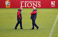 Rugby Union - 2017 British & Irish Lions Tour of New Zealand - Captains Run <br /> <br /> Warren Gatland head coach of the Lions chats to Rob Howley his assistant coach during the Captains Run at The QBE Stadium, Auckland. <br /> <br /> COLORSPORT/LYNNE CAMERON