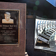 The George Herman 'Babe' Ruth plaque at Monument Park, an open-air museum located at the new Yankee Stadium containing a collection of monuments, plaques, and retired numbers honoring distinguished members of the New York Yankees. New York, USA. Photo Tim Clayton