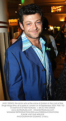 ANDY SERKIS, the actor who is the voice of Gollum in the Lord of the Rings trilogy films, at a party in London on 4t September 2003.PME 152