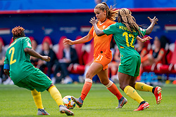 15-06-2019 FRA: Netherlands - Cameroon, Valenciennes<br /> FIFA Women's World Cup France group E match between Netherlands and Cameroon at Stade du Hainaut / Lieke Martens #11 of the Netherlands, Christine Manie #2 of Cameroon, Claudine Meffometou #12 of Cameroon