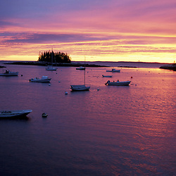 Southport Island, ME.... Boats moored in a small harbor at the southern end of Southport Island.  Boothbay Harbor