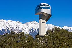 THEMENBILD - die Bergisel Schanze und Stadion, aufgenommen am 25. Februar 2019. Innsbruck, Österreich // Arial View of the Bergisel Hill with Stadium, Innsbruck, Austria on 2019/02/25. EXPA Pictures © 2019, PhotoCredit: EXPA/ Johann Groder