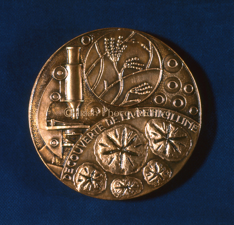 Medal commemorating the discovery of penicillin. Scottish bacteriologist Alexander Fleming (1881-1955) discovered penicillin in 1928. In 1945 he shared the Nobel Prize for Physiology and Medicine with Howard Florey (1898-1968) and Ernst Chain (1906-1979), who had perfected a method of producing the volatile drug, now known to the world as antibiotics. Reverse of a medal celebrating the award of the prize.