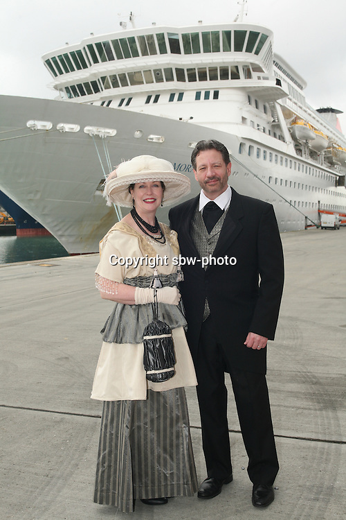 Miles Morgan Travel's Titanic Memorial Cruise leaves Southampton..Exactly1309 paying passengers from all over the world set sail from Southampton on a 12 night cruise to commemorate the centenary of the sinking of the Titanic..Mary Beth Crocker Dearing and Tom Dearing from the USA dressed in period costume infront of the Balmoral.