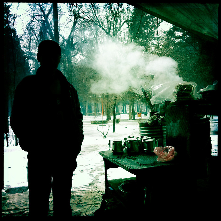 A tea stand in Shar-e Now Park on a cold winter day.