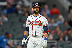 May 15, 2018 - Atlanta, GA, U.S. - ATLANTA, GA Ð MAY 15:  Braves Jose Bautista looks towards the stands after striking out during the game between Atlanta and Chicago on May 15th, 2018 at SunTrust Park in Atlanta, GA. The Chicago Cubs defeated the Atlanta Braves by a score of 3 -2.  (Photo by Rich von Biberstein/Icon Sportswire) (Credit Image: © Rich Von Biberstein/Icon SMI via ZUMA Press)