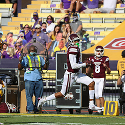 Sep 26, 2020; Baton Rouge, Louisiana, USA; Mississippi State Bulldogs wide receiver Osirus Mitchell (5) runs for a touchdown after a catch against the LSU Tigers during the first half at Tiger Stadium. Mandatory Credit: Derick E. Hingle-USA TODAY Sports