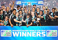 5th September 2010, Twickenham Stoop, London, England: New Zealand lift the the IRB Women's Rugby World Cup after beating England. New Zealand won 13-10, capturing the trophy for the 4th time.  (Photo by Andrew Tobin www.slikimages.com)