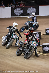 Suicide Machine's Shaun Guardado in the lead of his heat at the Hooligan Flat Track Racing at the pre-Born Free Stampede in the City of Industry, CA, USA. Thursday, June 20, 2019. Photography ©2019 Michael Lichter.