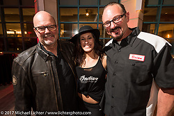 David Stang (L) of Jack Daniels with Klock Werks Karlee Kobb and Brian Klock at the Indian new bike reveal party at the Hilton Hotel during Daytona Bike Week. Daytona Beach, FL, USA. Friday March 10, 2017. Photography ©2017 Michael Lichter.