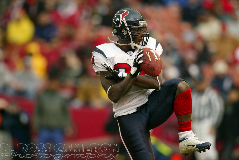 Houston Texans running back Vernand Morency celebrates his three-yard touchdown run against the San Francisco 49ers during the first quarter of an NFL football game, Sunday, Jan. 1, 2006 at Candlestick Park in San Francisco.  The 49ers won in overtime, 20-17. (D. Ross Cameron/The Oakland Tribune)