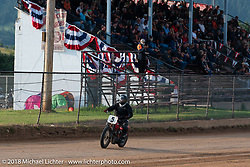 Eric Floed in the Spirit of Sturgis antique motorcycle flat track race at the historic Sturgis Half Mile during the 78th annual Sturgis Motorcycle Rally. Sturgis, SD. USA. Monday August 6, 2018. Photography ©2018 Michael Lichter.