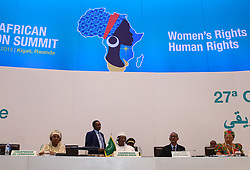 KIGALI, July 18, 2016 (Xinhua) -- President of the Republic of Chad and rotating African Union chairperson Idriss Deby (3rd L), President of Rwanda Paul Kagame (2nd R) and Chairperson of the African Union Commission (AUC) Nkosazana Dlamini-Zuma (1st L) attend a press conference after the closing ceremony of the 27th ordinary session of the AU Heads of States, in Kigali, Rwanda, on July 18, 2016. Nkosazana Dlamini-Zuma, the current chair of the African Union Commission (AUC), is to retain her job as head of the regional bloc as elections to elect her successor failed to produce a result when the AU summit ended here Monday. (Xinhua/Pan Siwei) (Credit Image: © Xinhua via ZUMA Wire)