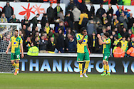 Norwich city player Dieumerci Mbokani (c)  looks on dejected at the final whistle after they lose the game. Barclays Premier league match, Swansea city v Norwich city at the Liberty Stadium in Swansea, South Wales  on Saturday 5th March 2016.<br /> pic by  Andrew Orchard, Andrew Orchard sports photography.