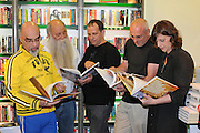 Five top Israeli chefs promote their latest cookbook in a book store (from left to right): Yisrael Aharoni, Uri Yarmias (AKA Uri Buri), Mane Shtrum, Erez Komarovsky, Orna Agmon