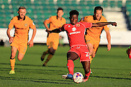 Kabongo Tshimanga of Milton Keynes Dons in action.EFL cup, 1st round match, Newport county v Milton Keynes Dons at Rodney Parade in Newport, South Wales on Tuesday 9th August 2016.<br /> pic by Andrew Orchard, Andrew Orchard sports photography.