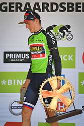 August 19, 2018 - Geraardsbergen, BELGIUM - Slovenian Matej Mohoric of Bahrain-Merida wearing the green jersey of leader in the overall ranking celebrates on the podium of the final stage of the Binkcbank Tour cycling race, 209,5 km from Lacs de l'Eau d'Heure to Geraardsbergen, Belgium, Sunday 19 August 2018. BELGA PHOTO DAVID STOCKMAN (Credit Image: © David Stockman/Belga via ZUMA Press)