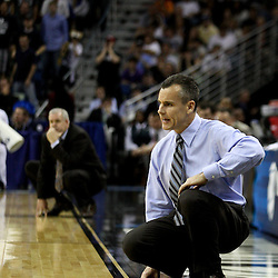 Mar 24, 2011; New Orleans, LA; Florida Gators head coach Billy Donovan during the second half of the semifinals of the southeast regional of the 2011 NCAA men's basketball tournament against the Brigham Young Cougars at New Orleans Arena. Florida defeated BYU 83-74.   Mandatory Credit: Derick E. Hingle