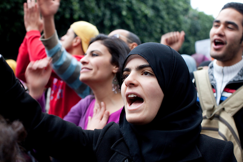 Tunis, Tunisia. January 25th 2011.Protesters outside the prime minister's office (Mohammed Ghannouchi), located on the Kasbah square. They demand the removal of members of the ousted president's regime (Zine El Abidine Ben Ali) still in the government......