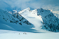 Skiing down Brenay Glacier, Haute Route, Switzerland