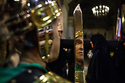 The Roman Legion of Mataró, the Armats of Mataró. Silence night procession in Maundy Thursday at the city center of Mataró city (Barcelona), during Easter 2015. Eva Parey/4SEE.