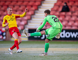 Partick Thistle's Kenny Miller and Dunfermline's keeper Ryan Scully, Dunfermline 5 v 1 Partick Thistle, Scottish Championship game played 30/11/2019 at Dunfermline's home ground, East End Park.