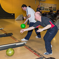 Special Olympians taking part in the bowling in Ennis on Tuesday eve