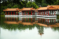 Pond and Pavilion at Singapore Chinese Garden - commonly known as Jurong Gardens which was designed by  Yuen Chen Yu, a well-known Taiwanese architect.  The Chinese Garden's concept is based on a variety of Chinese gardening styles. The main characteristic being the integration of architectural features with the area's natural environment. The Chinese Garden is modeled along the northern Chinese imperial style of architecture and landscaping.