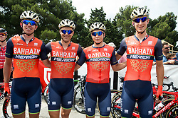 Domen Novak (SLO) of Bahrain-Merida, Borut Bozic (SLO) of Bahrain-Merida, Luka Pibernik (SLO) of Bahrain-Merida and David Per (SLO) of Bahrain-Merida during Stage 1 of 24th Tour of Slovenia 2017 / Tour de Slovenie from Koper to Kocevje (159,4 km) cycling race on June 15, 2017 in Slovenia. Photo by Vid Ponikvar / Sportida