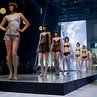 Model presents creations marketed under the trademark F&F designed for the 2011 spring and summer season in Budapest, Hungary on May 05, 2011. ATTILA VOLGYI