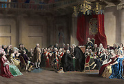 Franklin before the Lord's Council, Whitehall Chapel, London, 1774. Christian Schuessele (c1824-1879), American painter. Benjamin Franklin presenting the concerns of the American colonists. England Britain Colonialism
