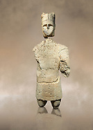 9th century BC Giants of Mont'e Prama  Nuragic stone statue of an archer, Mont'e Prama archaeological site, Cabras. Museo archeologico nazionale, Cagliari, Italy. (National Archaeological Museum) .<br />  <br /> If you prefer to buy from our ALAMY STOCK LIBRARY page at https://www.alamy.com/portfolio/paul-williams-funkystock/nuragic-artefacts.html - Type intoo the LOWER SEARCH WITHIN GALLERY box to refine search by adding background colour, etc<br /> <br /> Visit our NURAGIC PHOTO COLLECTIONS for more photos to download or buy as wall art prints https://funkystock.photoshelter.com/gallery-collection/Nuragic-Nuraghe-Towers-Nuragic-Artefacts-of-Sardinia-Pictures-Images/C0000M6ZtTuHVsSo