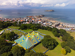 View of the Belhaven Big Top a venue of the Fringe by the Sea festival in North Berwick, East Lothian. The festival runs until 15th August.