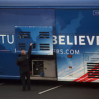 A driver checks the generator of Democratic Presidential candidate Bernie Sanders's bus before departing during the South Carolina Primary in Columbia, SC February 21, 2016.