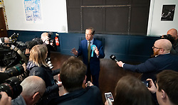 Edinburgh, Scotland, UK. 17 May 2019. Nigel Farage in Edinburgh for a rally with the Brexit Party's European election candidates. Held at the Corn Exchange in the city.