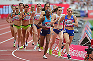 Hellen Obiri (KEN) tucks in behind Laura Muir (GBR) in the 1 mile Women during the Muller Anniversary Games at the London Stadium, London, England on 9 July 2017. Photo by Jon Bromley.
