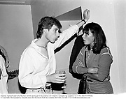 Damian Aspinall and Lulu Blacker. Drinks party given by andrew de Candole. Lowndes Sq. London. 12/7/83. film 83490f30.<br />