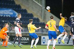 Falkirk's David McCracken scoring their goal. <br /> Falkirk 1 v 0 Cowdenbeath, Scottish Championship game played 31/3/2015 at The Falkirk Stadium.