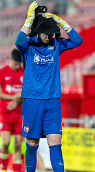 WREXHAM, WALES - Thursday, September 17, 2020: Connah's Quay Nomads' goalkeeper Lewis Brass looks dejected as FC Dinamo Tiblisi win 1-0 thanks to an injury time penalty during the UEFA Europa League Second Qualifying Round match between Connah's Quay Nomads FC and FC Dinamo Tbilisi at the Racecourse Ground. Dinamo Tiblisi won 1-0. (Pic by David Rawcliffe/Propaganda)