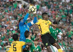 July 23, 2017 - Pasadena, California, U.S - Jamaican goalkeeper Dwayne Miller #13 catches the ball during the Mexico v. Jamaica Gold Cup Semifinal game at the Rose Bowl in Pasadena, California on Sunday July 23, 2017. Jamaica defeats Mexico, 1-0. (Credit Image: © Prensa Internacional via ZUMA Wire)
