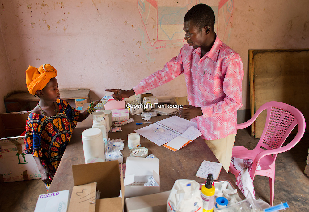 sick patients at MSF mobile clinic in CAR<br /> name patient: Ngaikouma<br /> bolom village, CAR<br /> disease: malaria