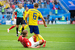 July 3, 2018 - St Petersburg, Russia - 180703 Michael Lang of Switzerland tackles Ludwig Augustinsson of Sweden during the FIFA World Cup round of 16 match between Sweden and Switzerland on July 3, 2018 in ST Petersburg..Photo: Petter Arvidson / BILDBYRÃ…N / kod PA / 87748 (Credit Image: © Petter Arvidson/Bildbyran via ZUMA Press)