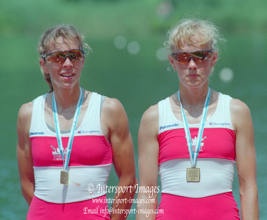 Lucerne, Switzerland. 1995 FISA WC III, Lake Rotsee, Lucerne,<br /> CAN LW2X. Colleen Miller<br /> Wendy Wiebe,<br /> [Mandatory Credit. Peter SPURRIER/Intersport Images]<br /> <br /> Image scanned from Colour Negative