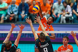 10-08-2019 NED: FIVB Tokyo Volleyball Qualification 2019 / Belgium - Netherlands, Rotterdam<br /> Third match pool B in hall Ahoy between Belgium vs. Netherlands (0-3) for one Olympic ticket / Fabian Plak #8 of Netherlands