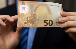 New banknote for 50 EUR, on April 3, 2017 in Banka Slovenije, Ljubljana, Slovenia. Photo by Vid Ponikvar / Sportida