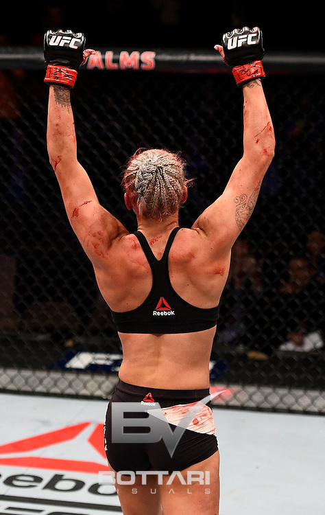 LAS VEGAS, NV - DECEMBER 03:  Kailin Curran reacts after the conclusion of her women's strawweight bout against Jamie Moyle during The Ultimate Fighter Finale event inside the Pearl concert theater at the Palms Resort & Casino on December 3, 2016 in Las Vegas, Nevada. (Photo by Jeff Bottari/Zuffa LLC/Zuffa LLC via Getty Images)