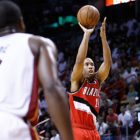 08 March 2011: Portland Trail Blazers point guard Andre Miller (24) takes a jumpshot during the Portland Trail Blazers 105-96 victory over the Miami Heat at the AmericanAirlines Arena, Miami, Florida, USA.