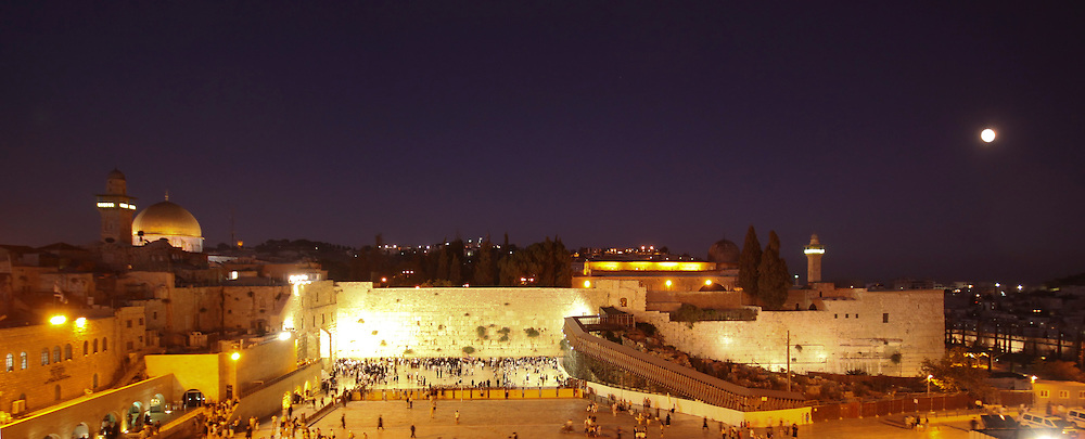 Panoramic night view of the Wailing Wall, Jerusalem.